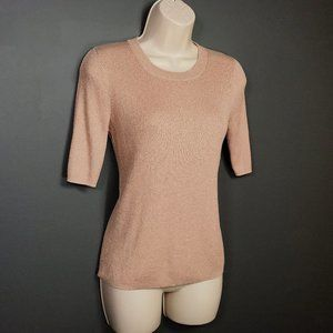 Madewell Blush Evening Sparkle Ribbed Knit Sweater